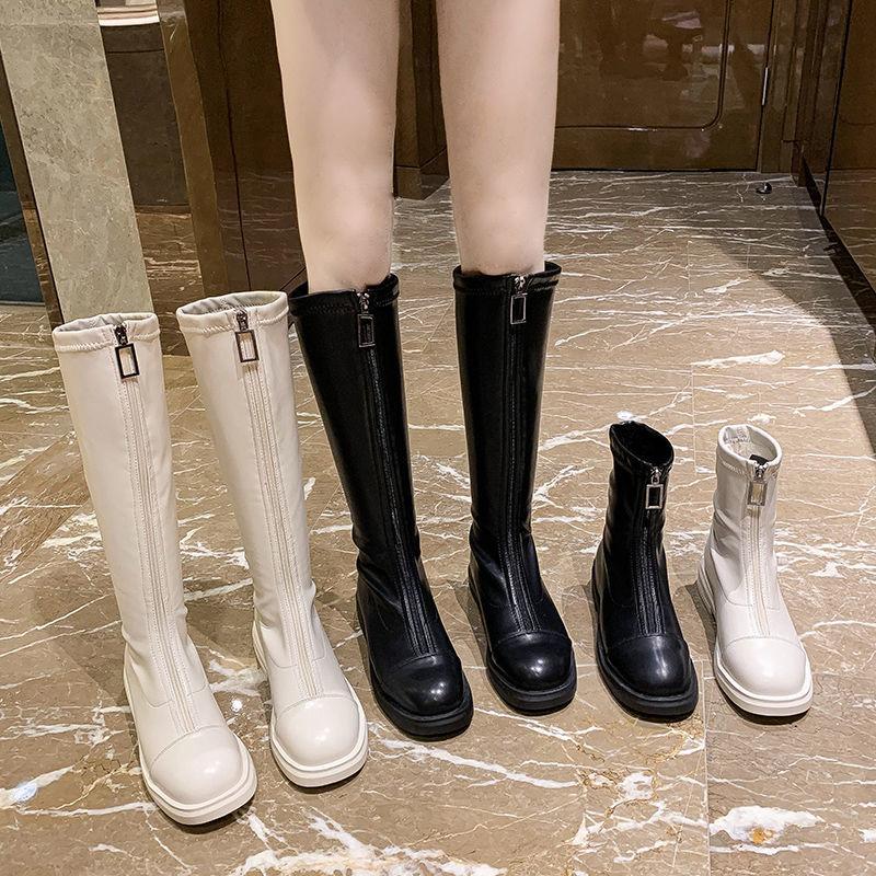 【美多】瘦瘦彈力靴加絨前拉鍊百搭長筒靴女顯高顯瘦不過膝高筒平底騎士靴