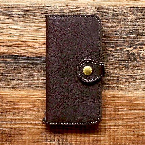 chi木皮革智能手機案例2Way 2.0 iPhone Android兼容筆記本類型黃銅棕色JAK044