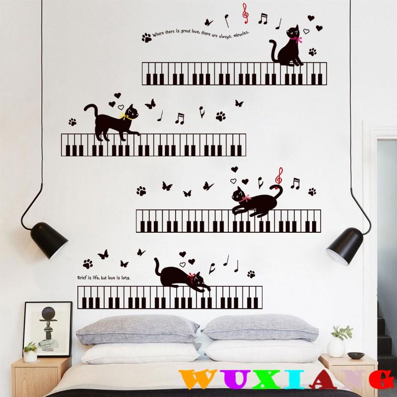 【五象設計】壁貼 琴鍵上的黑貓 兒童房 臥室幼稚園 背景牆貼 環保壁畫