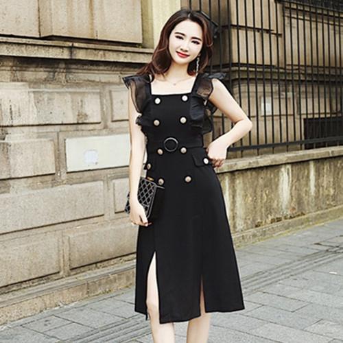 歐洲站赫本洋裝雙排扣無袖開叉洋裝過膝a字裙連衣裙女生夏天洋裝