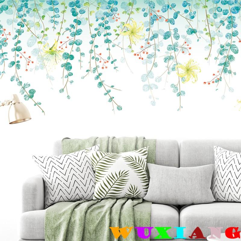 【五象設計】牆貼 清新綠葉 文藝背景牆 裝飾臥室 防水牆紙 貼紙 自粘牆紙電視牆