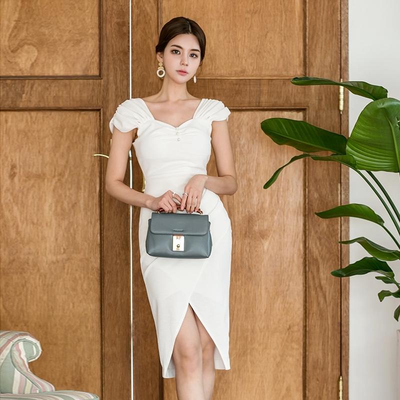 花苞袖短袖白色宴會禮服開衩洋裝連衣裙office lady女生酒會洋裝
