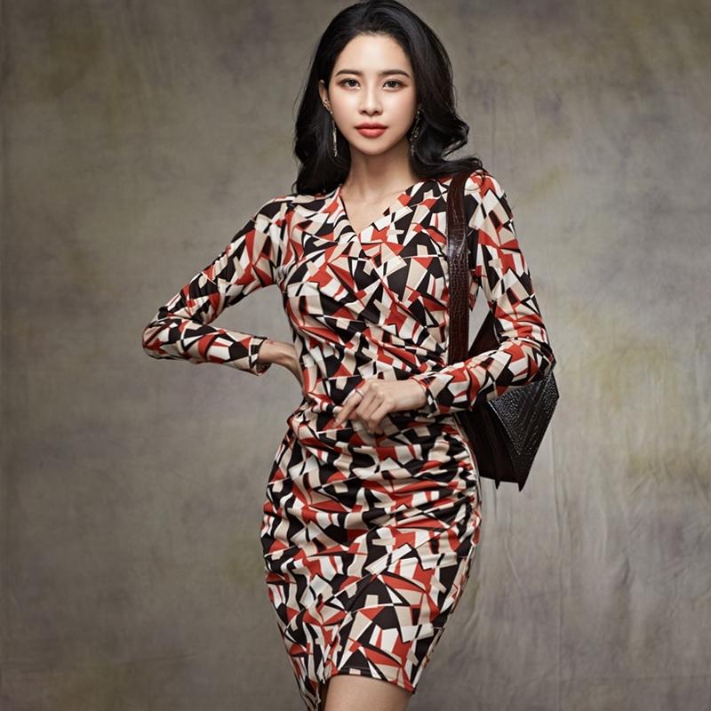 長袖正韓洋裝幾何印花包臀短洋宴會小禮服尺碼外出洋裝