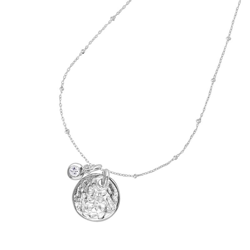 Hammered Disc & White Sapphire Twinkle Necklace
