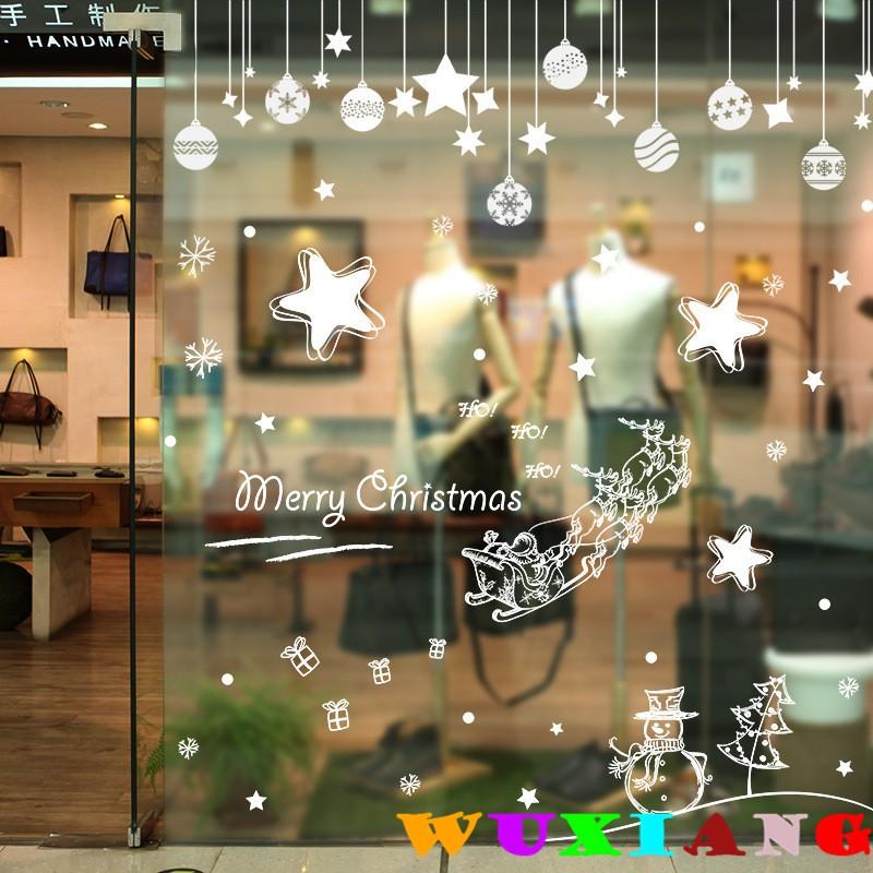 【五象設計】聖誕牆貼021 DIY 壁貼 白色聖誕牆貼櫥窗窗戶臥室房門裝飾pvc可移除防水貼紙