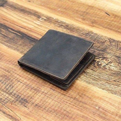 真皮兩折式錢包輕巧薄薄的鈔票分類簡單[棕色]所有皮革真皮HAW018