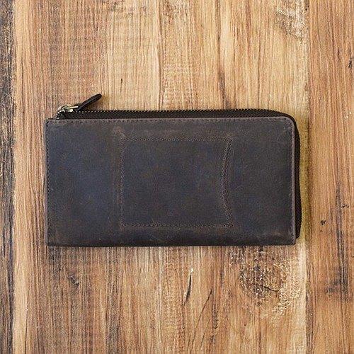 帶外部ID的情況。用來增加您的名字的錢包。全皮革L形拉鍊長錢包棕色HAW007