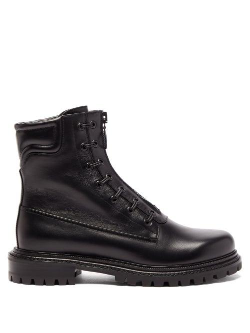 Aquazzura - Kicks Lace-up Leather Ankle Boots - Womens - Black