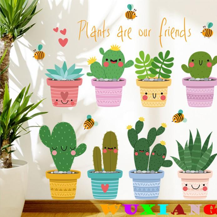 【五象設計】壁貼 牆貼 綠葉盆栽 房間裝飾 壁貼 宿舍植物貼紙 北歐 牆壁花卉自粘壁紙