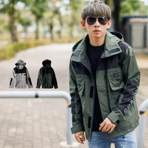 【NB0989J】韓國製配色拼接衝鋒機能工裝外套風衣外套(LE-BK802)