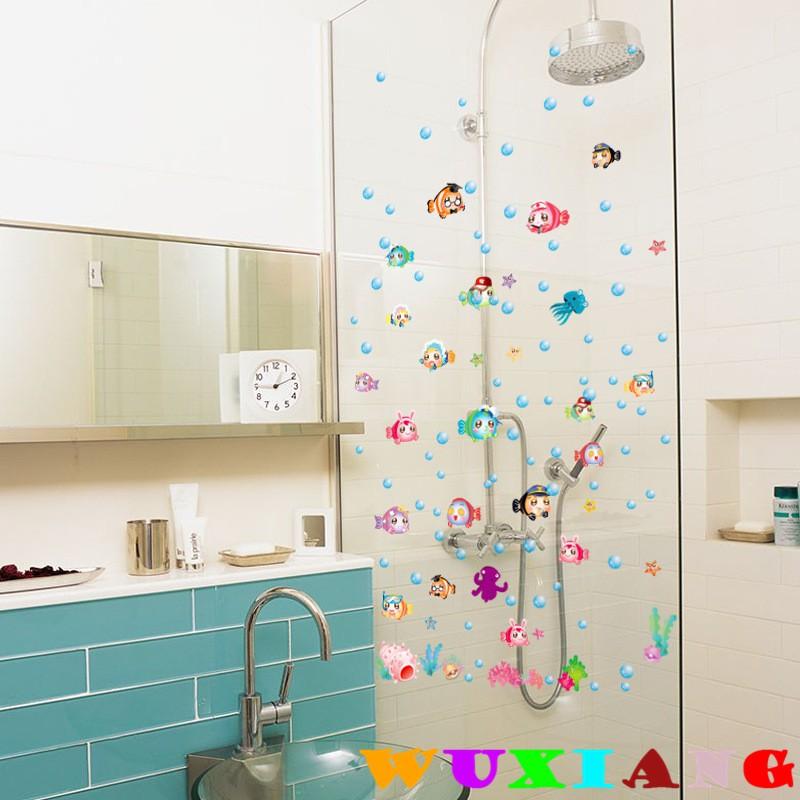 【五象設計】壁貼 貼紙 卡通海底多彩泡泡魚 兒童房幼稚園浴室貼畫