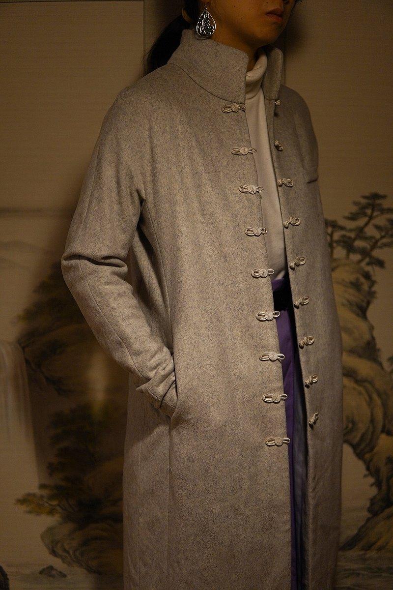 大理石紋盤扣立領羊毛大衣 Marble Chinese Knots Long Wool Coat