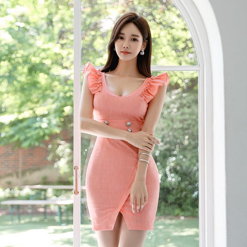 迷你洋裝V領無袖荷葉邊短洋裝包臀連衣裙