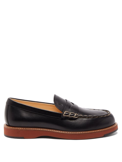 Tod's - Topstitched Leather Loafers - Womens - Black