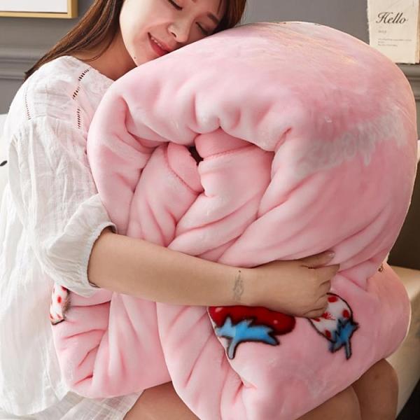 毛毯 珊瑚絨毯子冬季加厚保暖雙層拉舍爾毛毯單人宿舍學生床墊床單被子【快速出貨八折下殺】