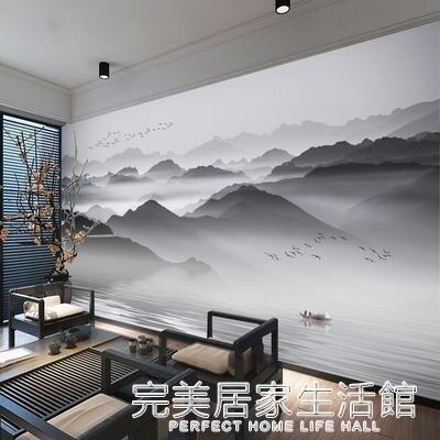 摩尼亞中式水墨電視背景墻紙黑白意境山水畫墻紙客廳沙發無縫墻布 創意家居