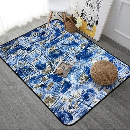 店長推薦 居家佈置必買 北歐摩登現代幾何風珊瑚絨地毯/ 客廳地毯/ 臥室地毯--藍底科幻抽象