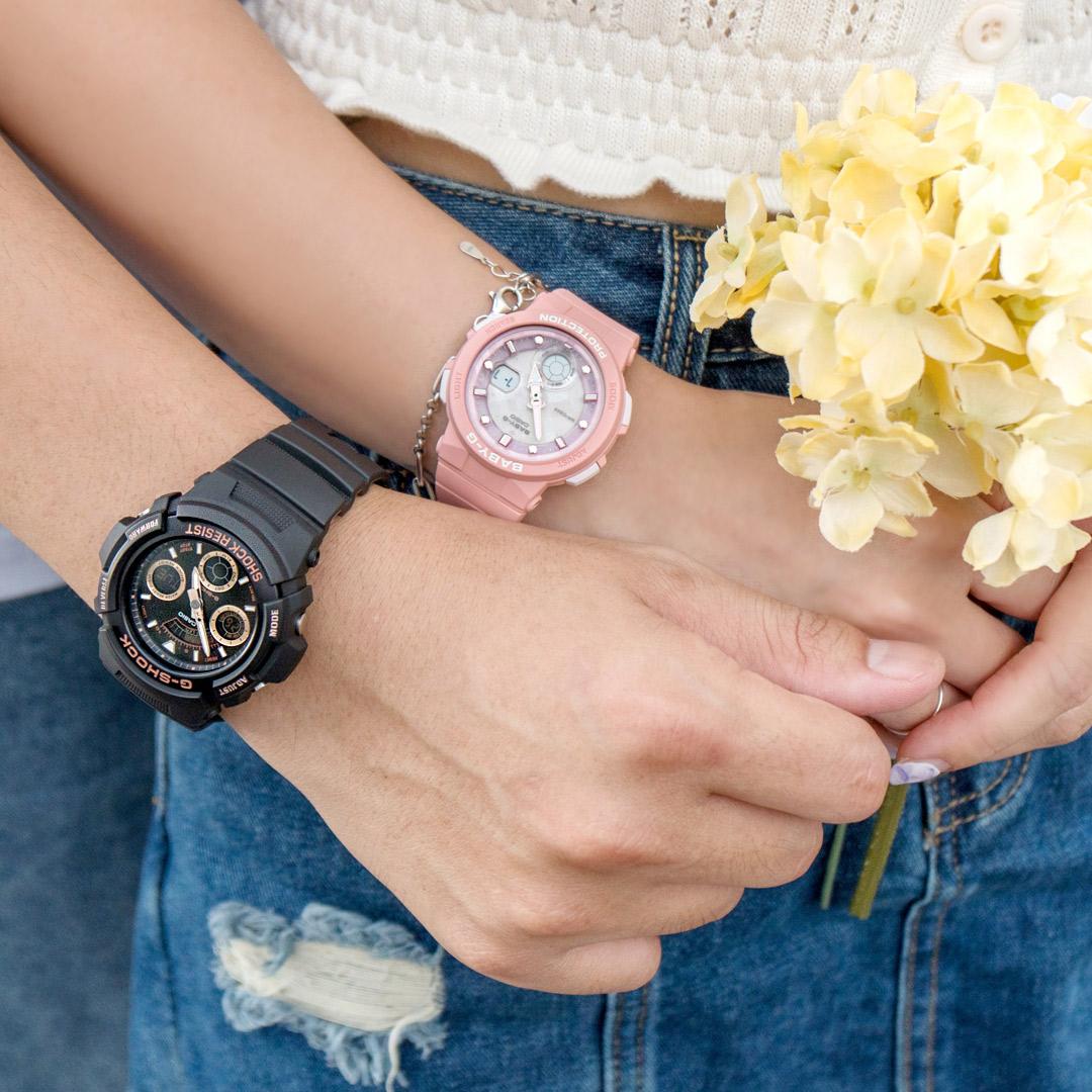 【2.14情人錶 下單抽・富士山杯】新作! 現貨 G-SHOCK x BABY-G 夏季戀曲運動情人對錶/黑金x 粉AW-591GBX-1A4DR+BGA-250-4ADR 情侶對錶 樹脂錶帶 熱賣中