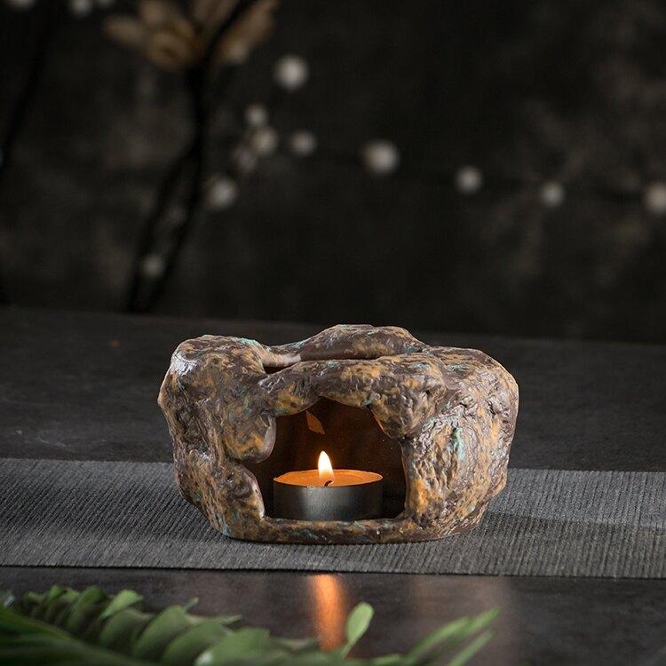 溫茶器 復古日式粗陶泥石頭暖茶爐蠟燭加熱茶壺爐功夫茶具陶瓷溫茶器杯子
