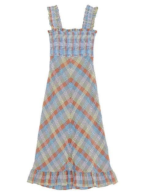 Seersucker Check Midi Dress