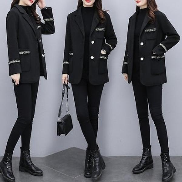 外套 韓版風衣大衣SXL秋冬韓版氣質西裝赫本風羊絨大衣潮NC3216828紅粉佳人