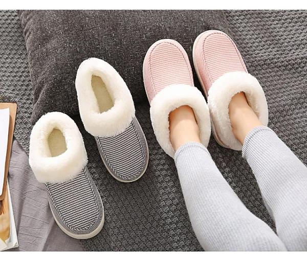 加絨毛厚底棉拖鞋男女情侶保暖全包跟居家用防滑室內冬天