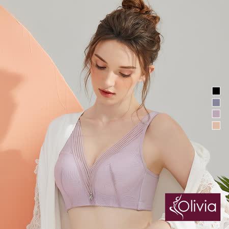 【Olivia】無鋼圈幾何網紗內衣-豆沙色