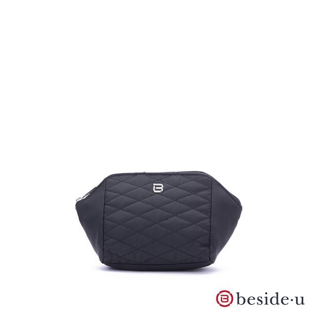 beside u 官方直營 BTTES經典菱格紋車線化妝包袋中袋– 黑色