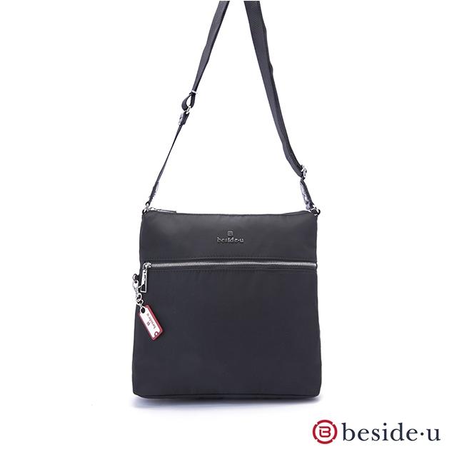 beside u 官方直營 BOS 直立式素色簡約斜肩包側背包 – 黑色