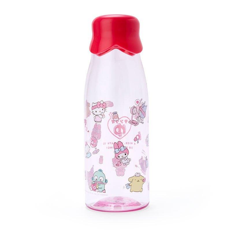 凱蒂貓kitty 泡湯 透明樹脂牛奶瓶 500ml G11 水瓶 冷水瓶 透明 便攜 透明水瓶 透明水壺 真愛日本