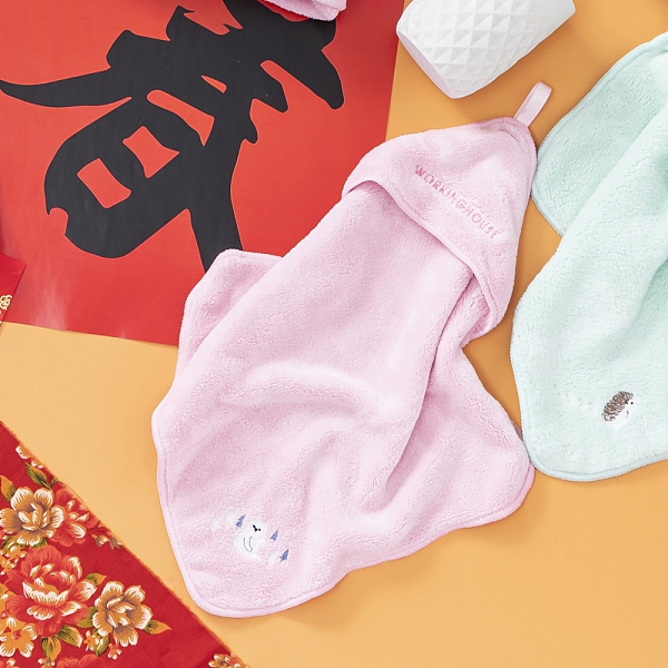 舒柔纖維擦手巾-慵懶白熊-生活工場