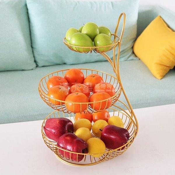 果盤 輕奢北歐鐵藝三層水果盤創意現代客廳家用茶幾零食盤個性多層果籃 NMS滿天星