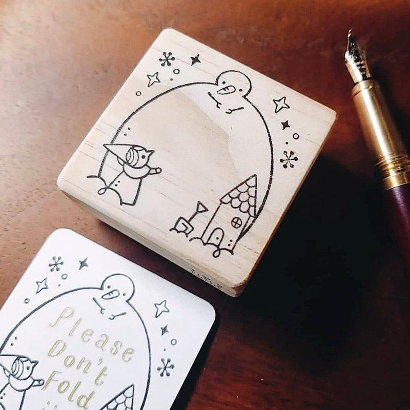 【漂雪的季節系列】小精靈與大雪人/ 便簽手刻膠板印章