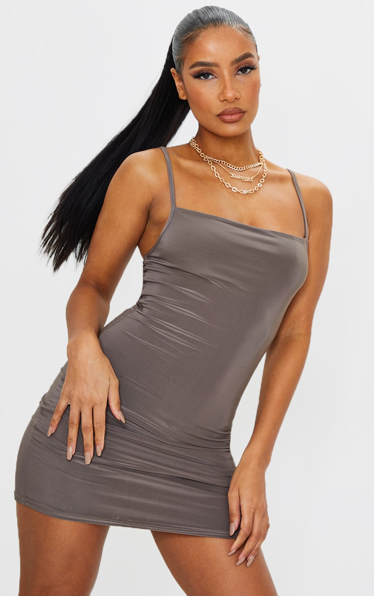 Slate Slinky Strappy Bodycon Dress
