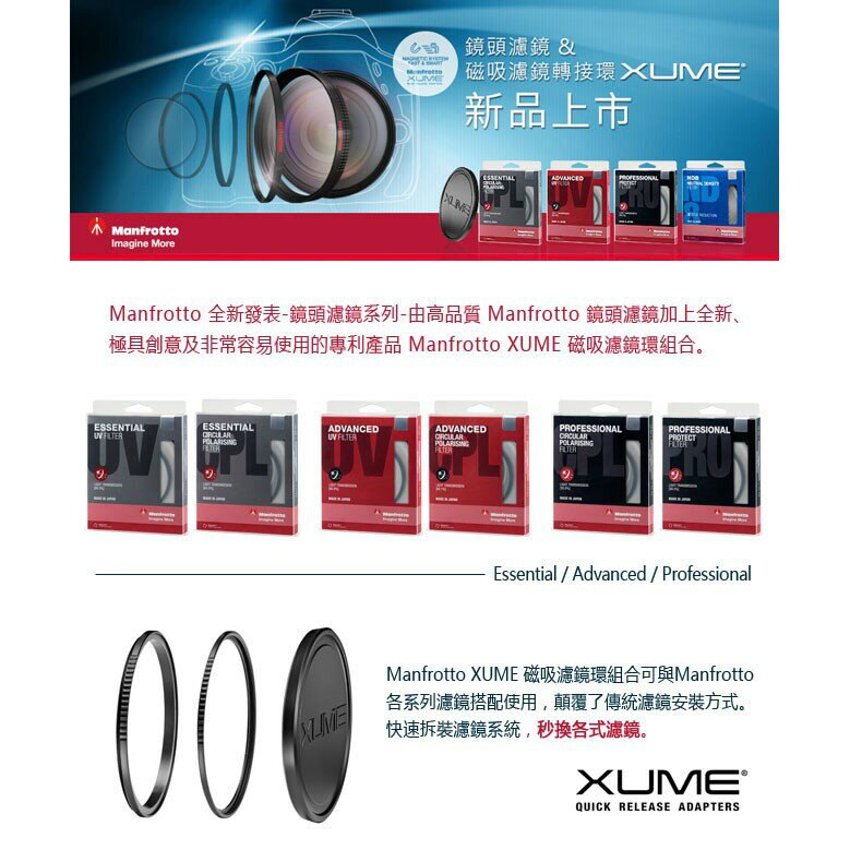 Manfrotto  UV鏡 Essential濾鏡系列 設有疏水塗層 透光率高達99% 保護鏡