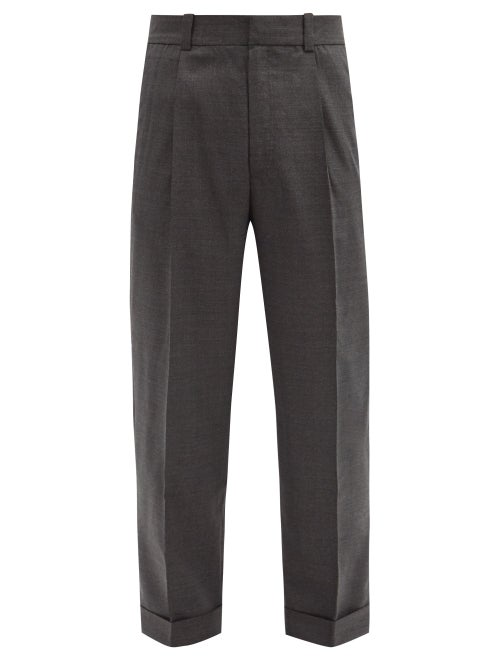 Acne Studios - Pleated Wool Tapered-leg Trousers - Mens - Dark Grey