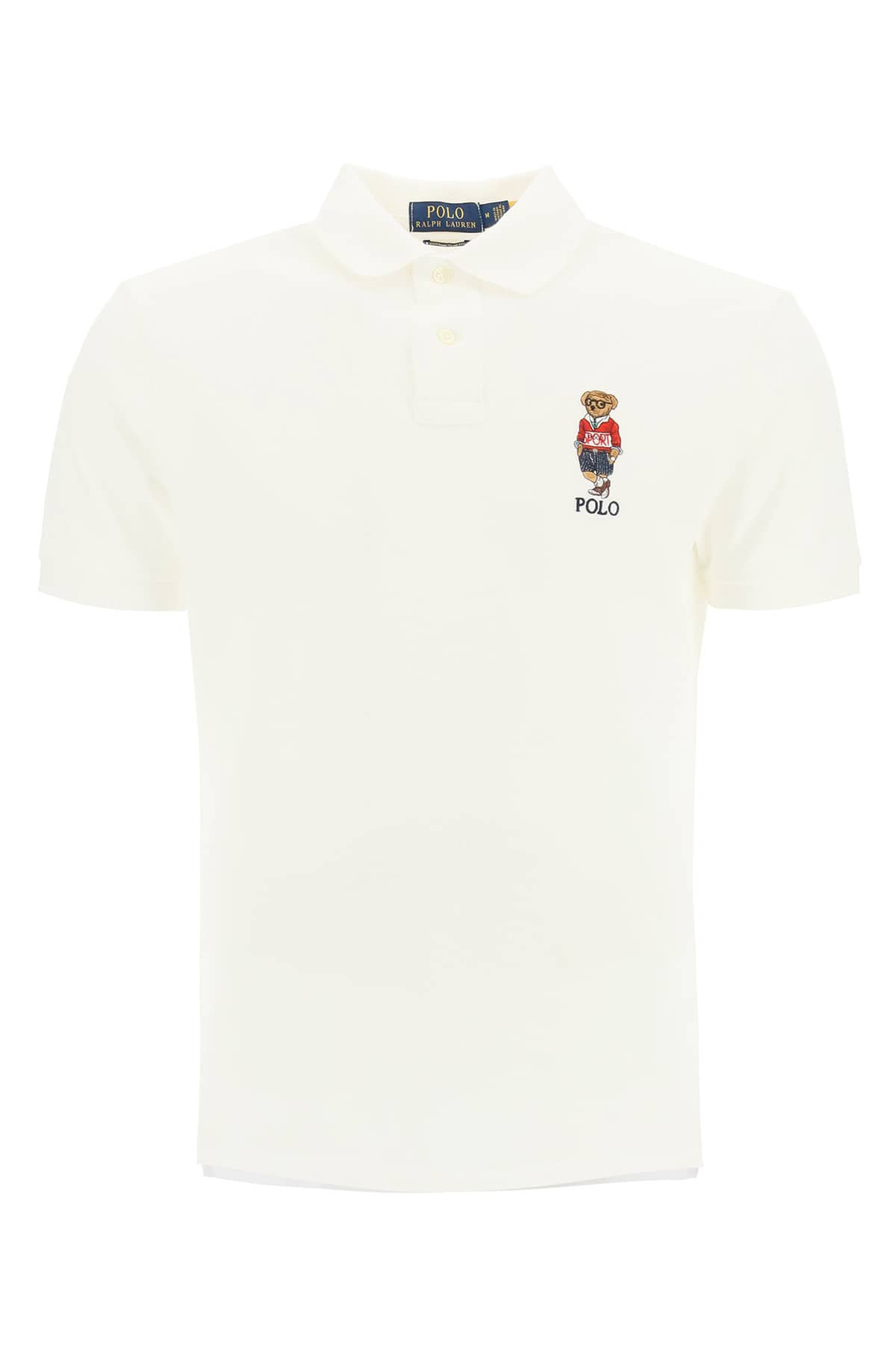 POLO RALPH LAUREN SLIM FIT POLO SHIRT WITH BEAR S White Cotton