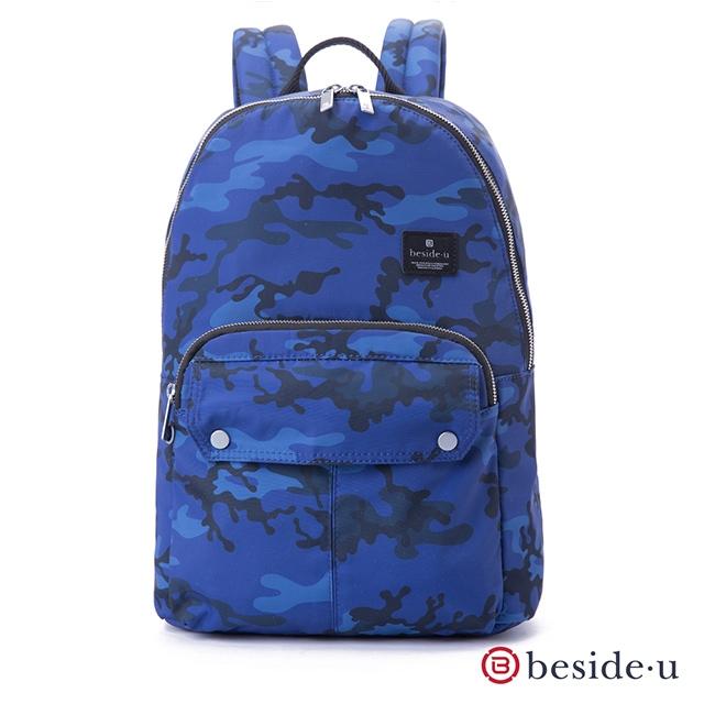 beside u 官方直營 BAP 輕量大容量13吋筆電行李箱拉桿後背包-藍色迷彩