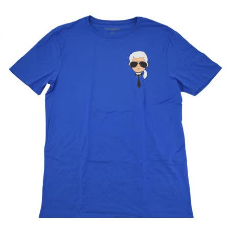 KARL LAGERFELD 卡爾 專櫃商品老佛爺公仔印花造型棉質短T恤.藍 M