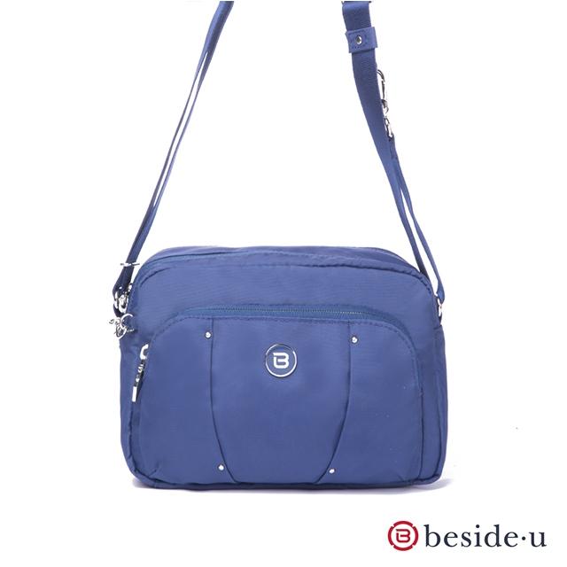beside u 官方直營 BLL 金屬裝飾旅行斜肩包側背包 – 藍色