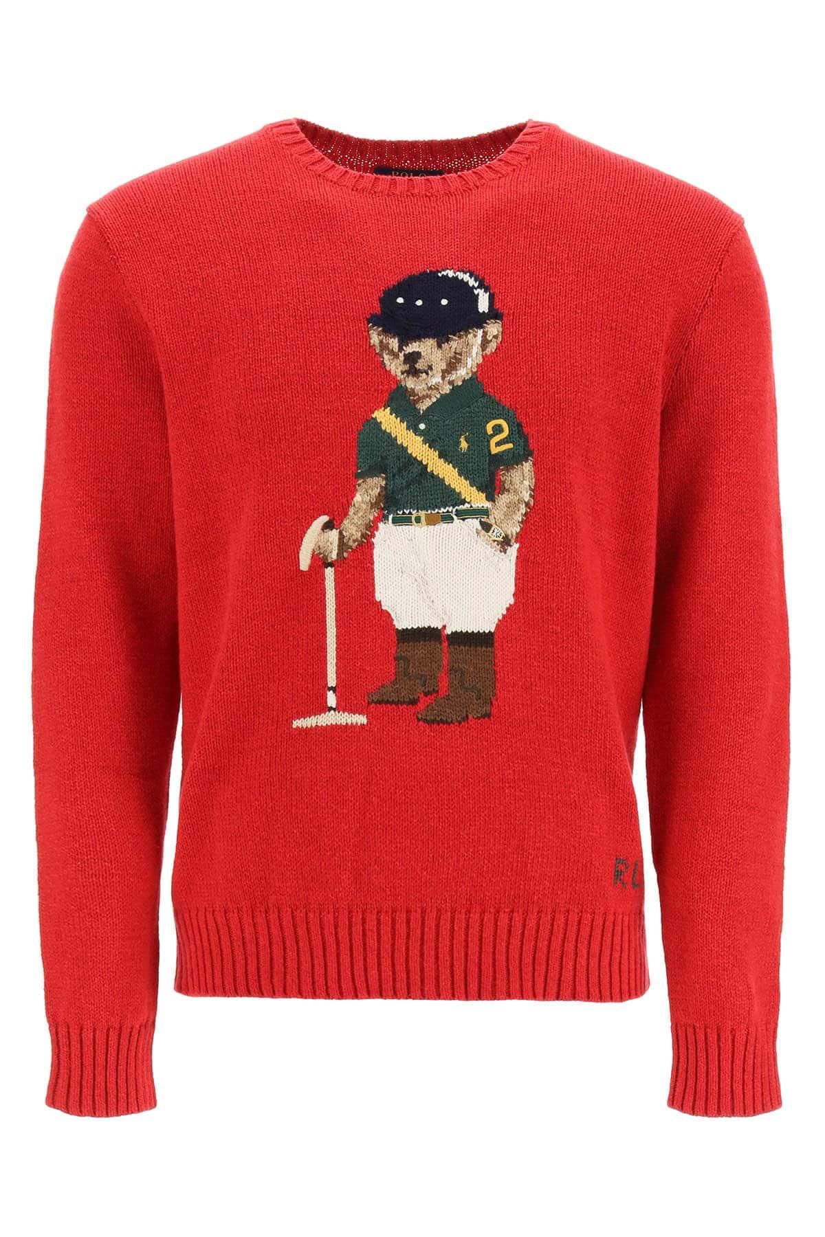 POLO RALPH LAUREN SWEATER POLO PLAYER BEAR L Red, Green, Beige Cotton