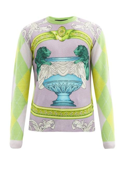 Versace - Baroque-intarsia Cashmere Sweater - Mens - Purple