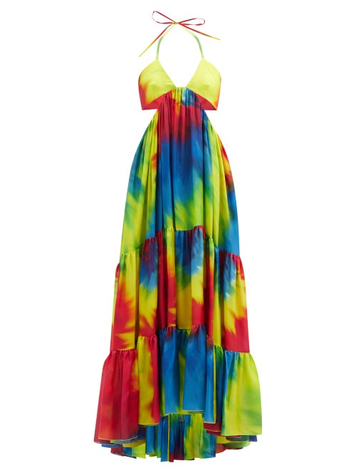 Alexandre Vauthier - Cutout Tie-dye Silk-charmeuse Maxi Dress - Womens - Yellow Multi