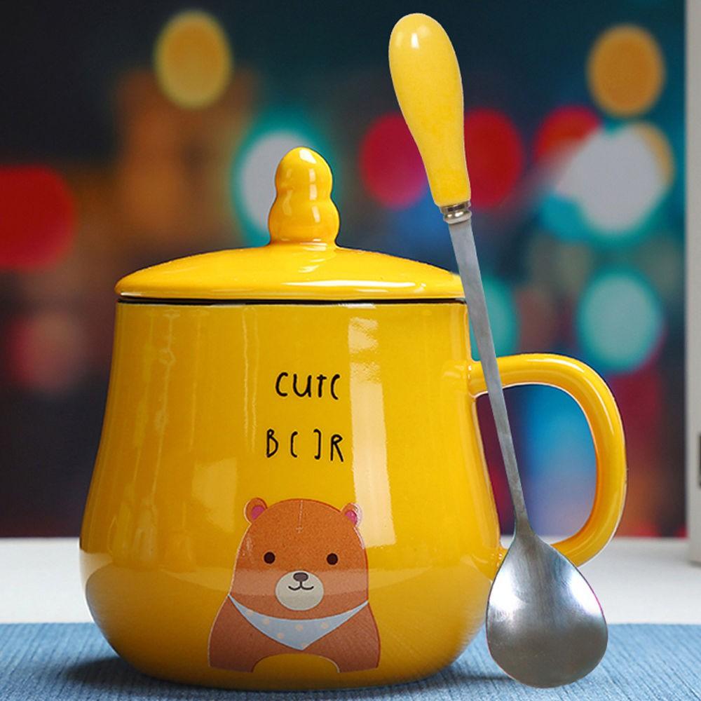 ♠﹉簡約杯子陶瓷水杯女可愛動物馬克杯情侶學生杯帶蓋勺咖啡杯早餐杯