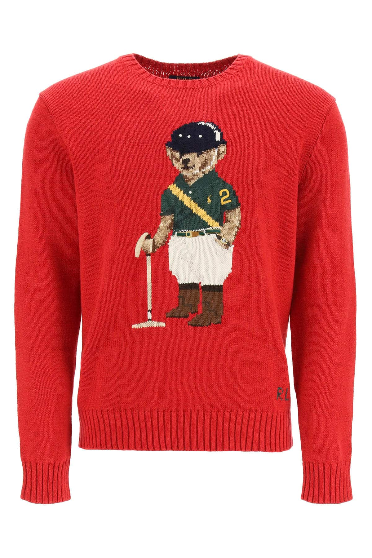 POLO RALPH LAUREN SWEATER POLO PLAYER BEAR S Red, Green, Beige Cotton