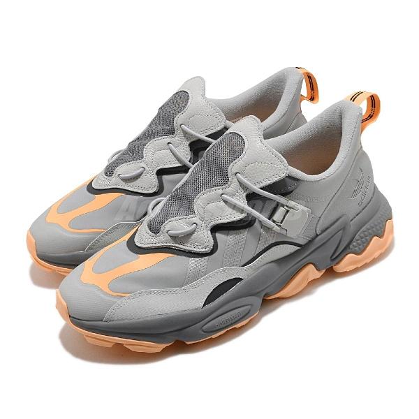 adidas 休閒鞋 OZWEEGO Flipshield 灰 橘 特殊鞋帶系統 磁吸式 男鞋【ACS】 FX6045