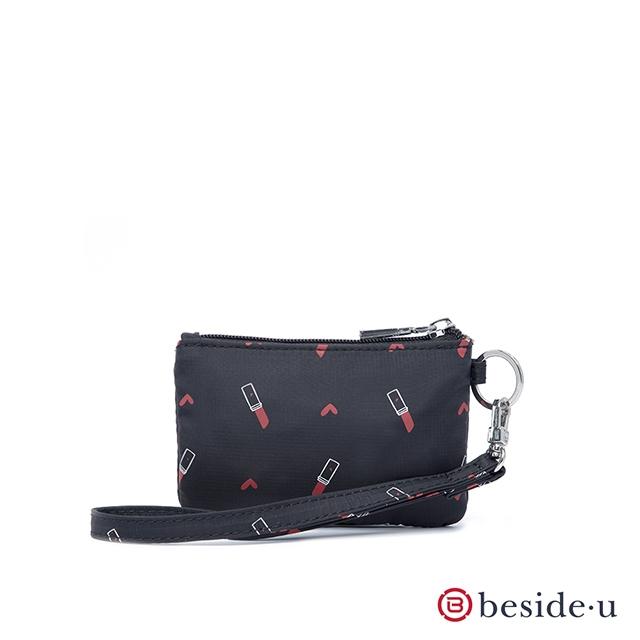 beside u 官方直營 BNUAS 圖騰印花卡片夾零錢包覆手腕帶 – 黑底口紅印花
