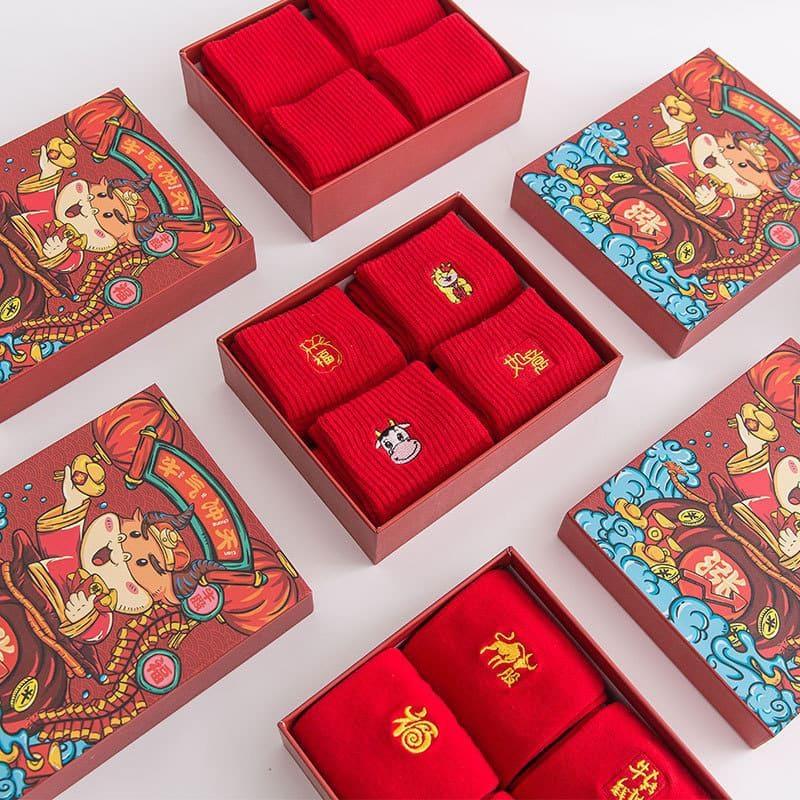 牛年大紅襪套裝禮盒 (4雙/盒)