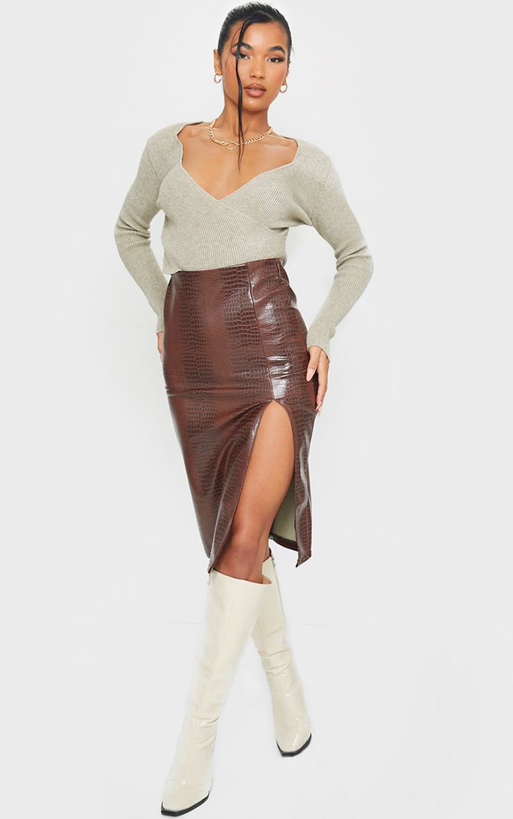Chocolate Faux Leather Split Detail Croc Midi Skirt