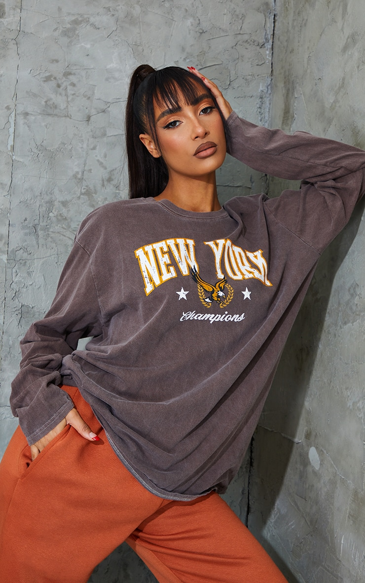Chocolate New York Champion Washed Long Sleeve T Shirt